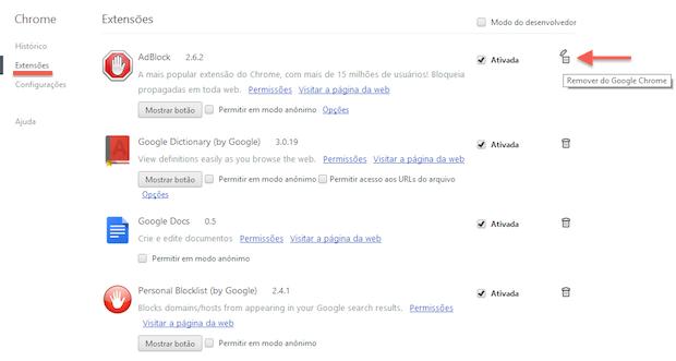 Desinstalando extensões no Chrome (Foto: Reprodução/Helito Bijora)