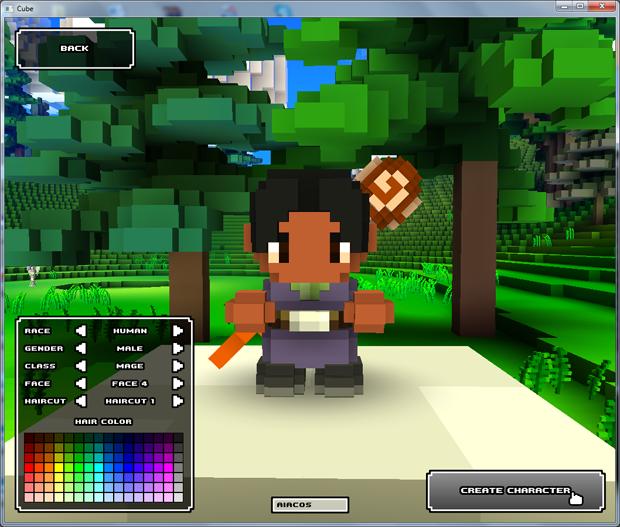 Criando um personagem em Cube World