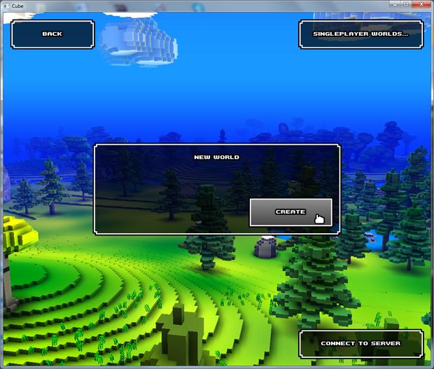 Opções para criar mundo em Cube World