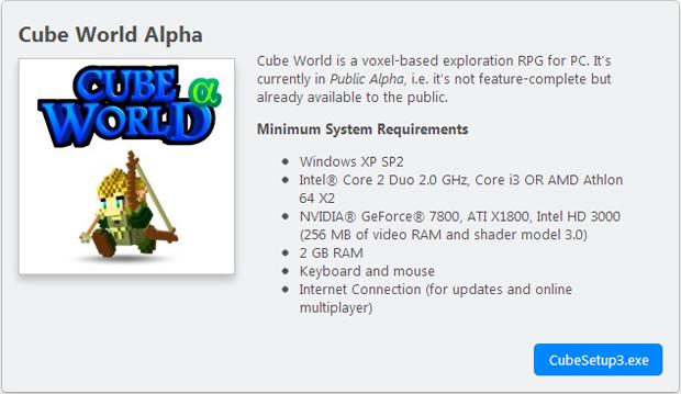 Download executável de instalação em Cube World