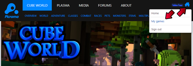 Site de Cube World opção My Game (Foto: Reprodução/Silas Tailer)