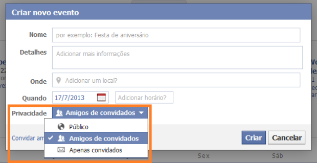 Configurações de privacidade do evento no Facebook (Foto: Reprodução/Lívia Dâmaso)