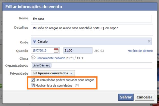 Alterando as configurações de privacidade do evento no Facebook (Foto: Reprodução/Lívia Dâmaso)