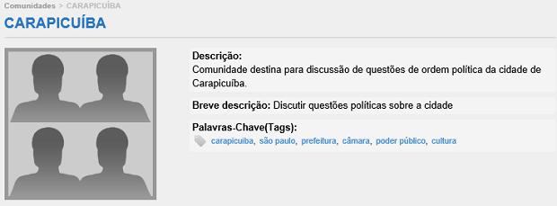 Este é o modelo de comunidades do site (Foto: Reprodução/Thiago Barros)