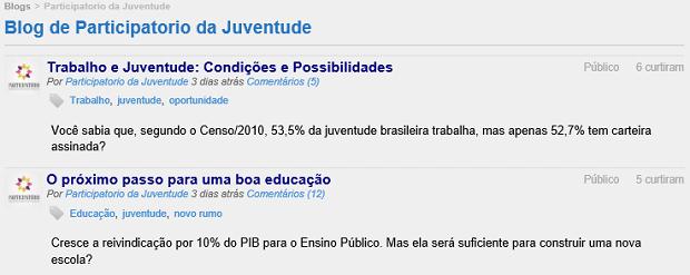 Blog tem posts oficiais do site (Foto: Reprodução/Thiago Barros)