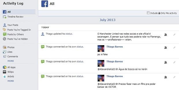 Primeira opção do registro é de ver publicações mais recentes (Foto: Reprodução/Thiago Barros)