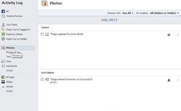Fotos e curtidas também aparecem no registro (Foto: Reprodução/Thiago Barros)