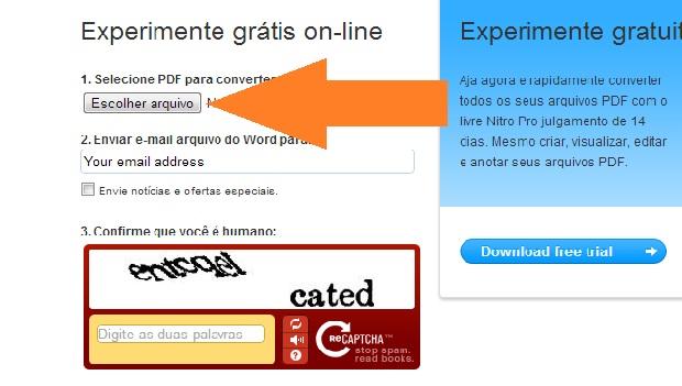 """Clique em """"Escolher arquivo"""" (Foto: Reprodução/Leonardo Simões)"""