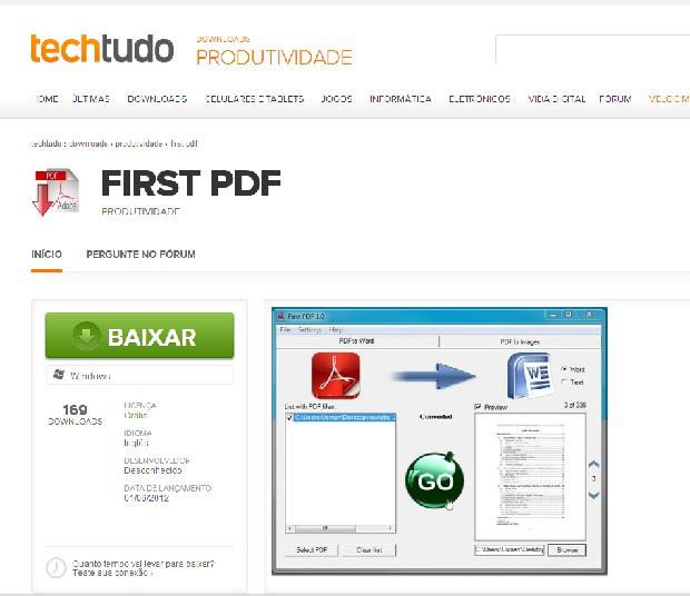 Faça o download do First PDF (Foto: Reprodução/Leonardo Simões)