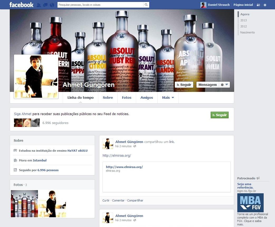 A página do usuário Ahmet Güngören com várias publicações de conteúdo duvidoso (Foto: Reprodução/ Daniel Ribeiro)