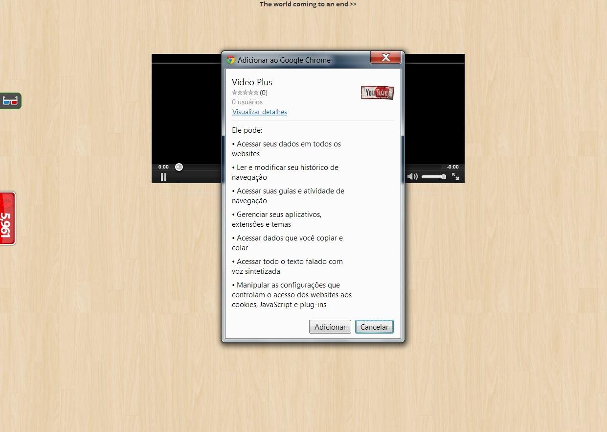 """A solicitação de permissão para instalar a """"extensão maliciosa"""" na página &squot;facemlike.com&squot; (Foto: Reprodução/ Daniel Ribeiro)"""