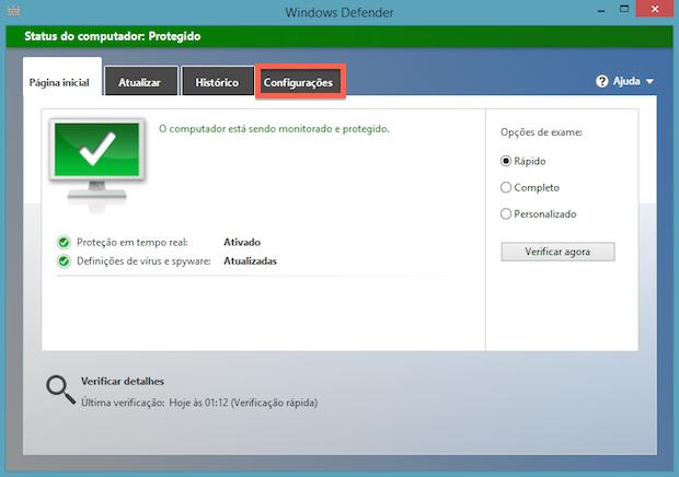 Janela principal do Windows Defender (Foto: Reprodução/Helito Bijora)