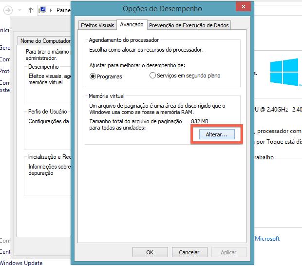 Acessando configurações da memória virtual (Foto: Reprodução/Helito Bijora)
