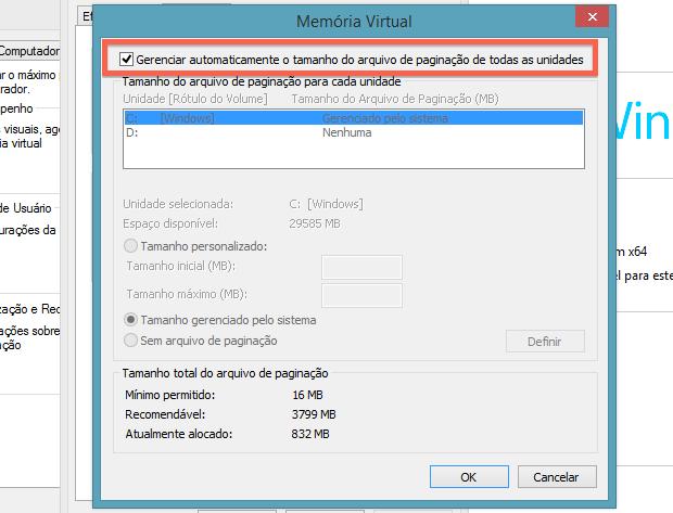 Desativando gerenciamento automático da memória virtual (Foto: Reprodução/Helito Bijora)