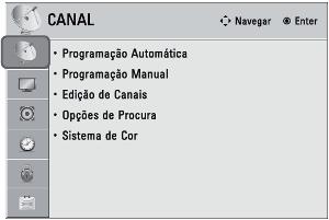 Menu de configuração de canais em uma TV LG (Foto: Reprodução)