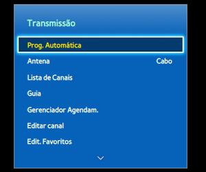 Menu de configuração em uma TV Samsung (Foto: Reprodução)