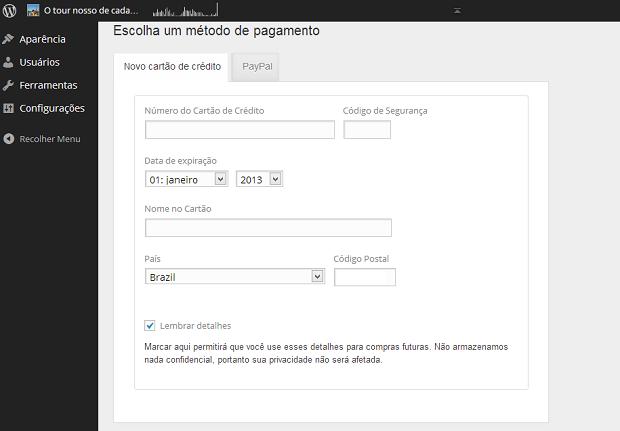 Preencha os dados de seu cartão ou conta do PayPal (Foto: Reprodução/Aline Jesus)