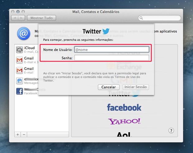 Adicionando o nome de usuário e senha do Twitter (Foto: Reprodução/Marvin Costa)