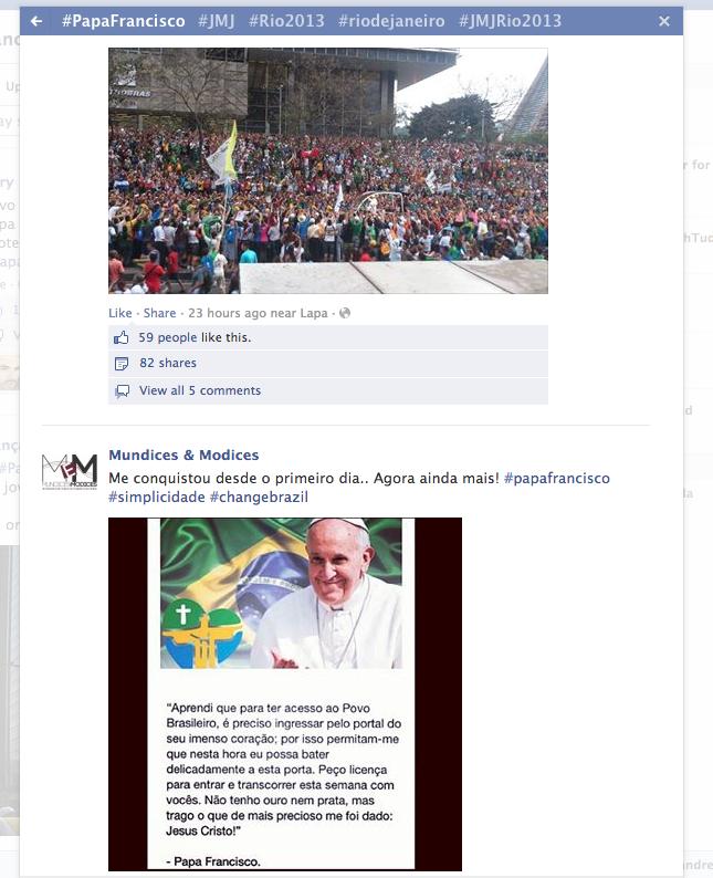 No Facebook Brasil, menções ao Papa aumentaram 74 vezes em um único dia (Foto: Reprodução/Facebook)