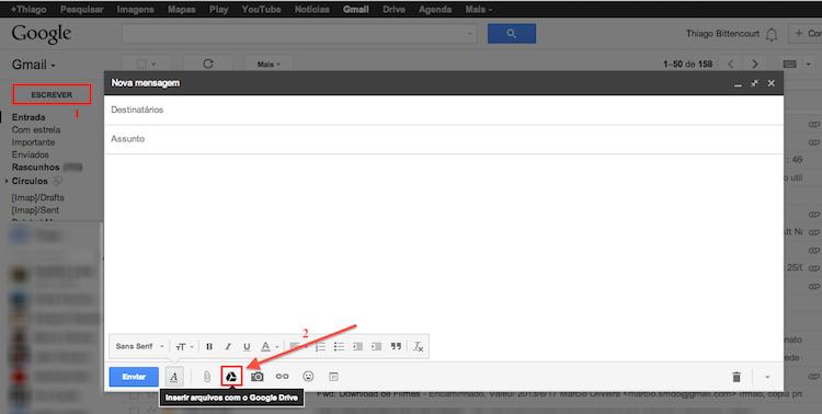 """Na tela de composição de mensagens do Gmail, escolha a opção """"Inserir arquivos com o Google Drive"""" (Foto: Reprodução/Thiago Bittencourt"""