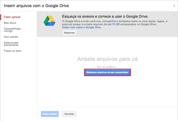"""Clique no botão """"Selecione arquivos de seu computador"""" (Foto: Reprodução/Thiago Bittencourt)"""