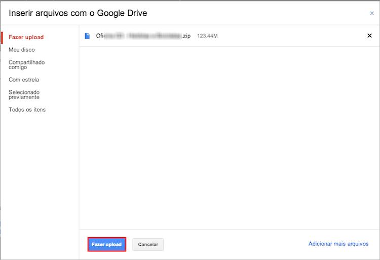 Faça o upload do arquivo desejado para o Google Drive (Foto: Reprodução/Thiago Bittencourt)