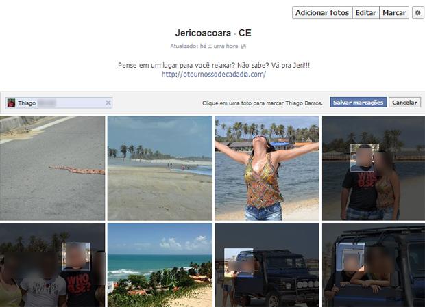 Marcação de uma pessoa em várias fotos de um álbum do Facebook (Foto: Aline Jesus/Reprodução)