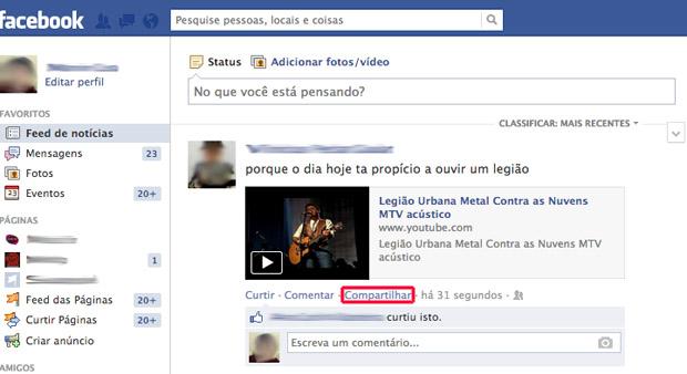 Escolhendo o link que deseja compartilhar (Foto: Divulgação/Marvin Costa)