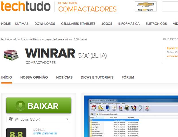 Baixando o WinRAR no TechTudo Downloads (Foto: Reprodução/Edivaldo Brito)