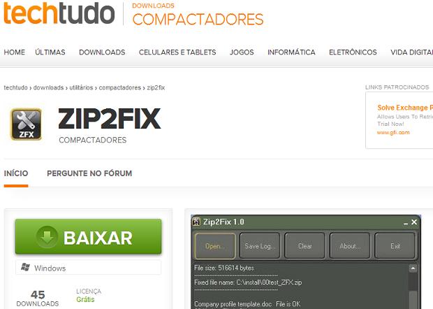 Baixando o ZIp2Fix no TechTudo Downloads (Foto: Reprodução/Edivaldo Brito)