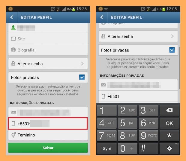 Alterando o número de celular no Instagram (Foto: Reprodução/Lívia Dâmaso)