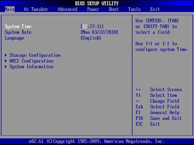 Tela principal da BIOS (Foto: Reprodução)