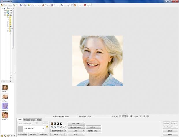 Tela inicial do editor do Photoscape com imagem carregada (Foto: Reprodução/Raquel Freire)