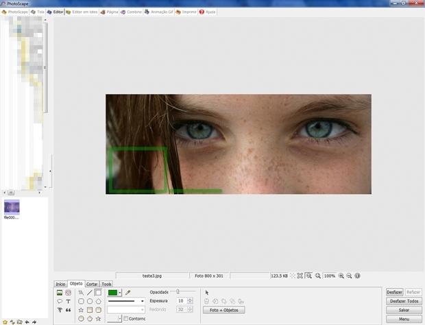 Retângulo e linha irão interagir com elementos gráficos do Facebook (Foto: Reprodução/Raquel Freire)