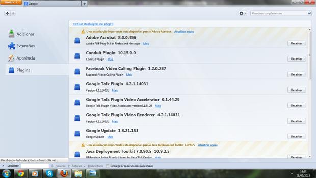 Desativando plugins no Firefox (foto: Reprodução/João Kurtz)