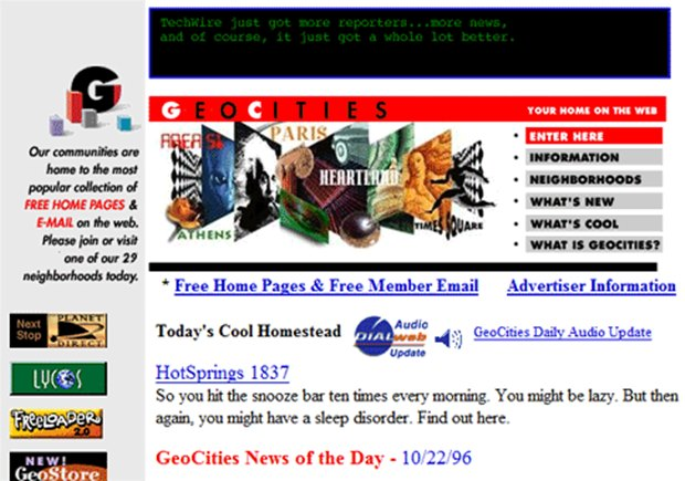 Geocities permitia criar páginas web (Foto: Reprodução / Ascii textfiles)
