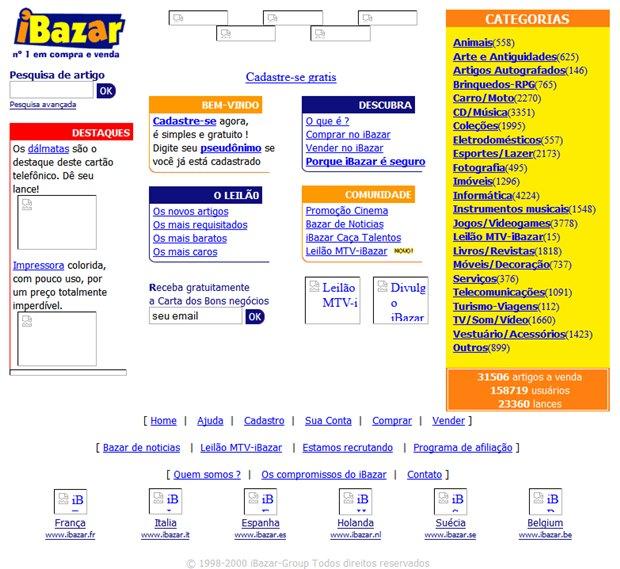 iBazar foi um importante site de leilões, até ser adquirido pelo eBay (Foto: Reprodução / WebArchive)