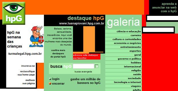 Portal hpG oferecia um ambiente fácil para criação de páginas em HTML (Foto: Reprodução / WebArchive)