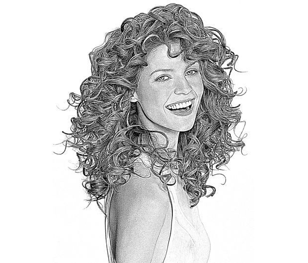 Desenho em preto e branco criado a partir de foto, no Photoscape (Foto: Reprodução/Raquel Freire)