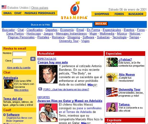O portal Starmedia tinha foco no público da América Latina (Foto: Reprodução / WebArchive)
