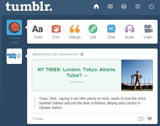 Tumblr oferece opções diferentes de publicação (Foto: Reprodução)