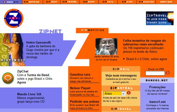 Zip.Net criou o popular serviço Zipmail (Foto: Reprodução / WebArchive)