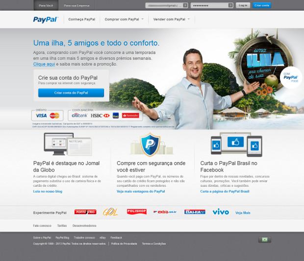 Conhece fazendo o login no Paypal (Foto: Reprodução / Dario Coutinho)