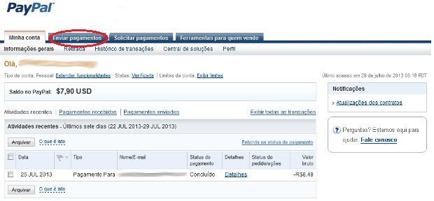 """Seta vermelha indicando a aba """"Enviar pagamentos"""" (Foto: Reprodução / Dario Coutinho) (Foto: Reprodução/Dario Coutinho)"""