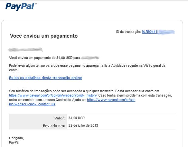O comprovante da transação é enviado por e-mail (Foto: Reprodução / Dario Coutinho) (Foto: O comprovante da transação é enviado por e-mail (Foto: Reprodução / Dario Coutinho))