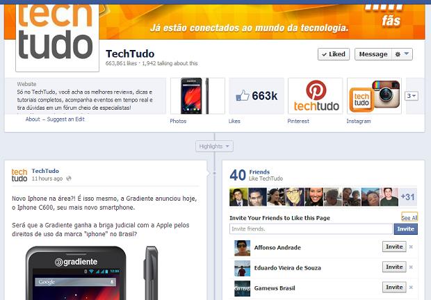 Convidando amigos para curtirem uma página no Facebook (Foto: Thiago Barros/Reprodução)