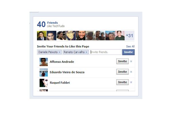Escolha de amigos para convidar a curtir uma FanPage (Foto: Thiago Barros/Reprodução)
