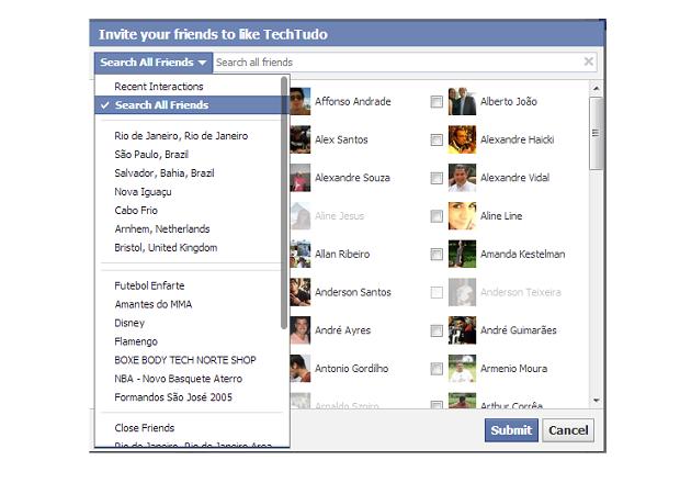 É possível escolher quais amigos você deseja convidar para curtir uma FanPage (Foto: Thiago Barros/Reprodução)