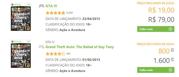 GTA 4 mais barato na Xbox Live (Foto: Reprodução)