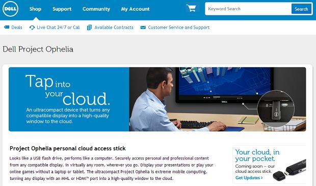 Dell já anuncia o Project Ophelia em seu site (Foto: Reprodução/Dell)